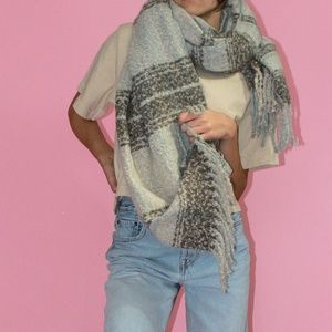 FREE PEOPLE Grey/Multicolor Oversized Fuzzy Scarf